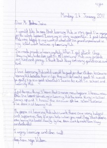 Letter to Learning Hub Tuition Centre, Wembley